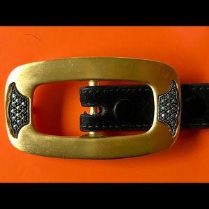 """Judith Jack Black Suede 3/4"""" Belt, gold marcasite"""